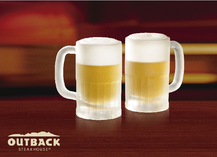 2 Chopes na Caneca Congelada Outback (340ml) como cortesia