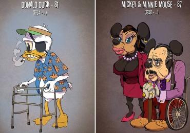 Como seriam os personagens dos desenhos se eles ficassem velhos como a gente