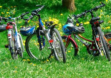 Curta o domingo pedalando no parque