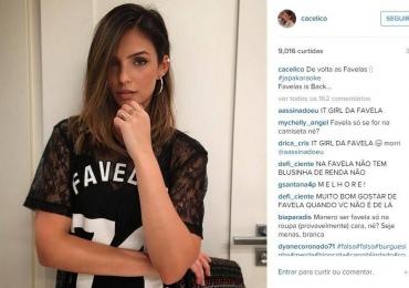 Carol Celico causa polêmica com post nas redes sociais por causa de uma camiseta escrito Favela
