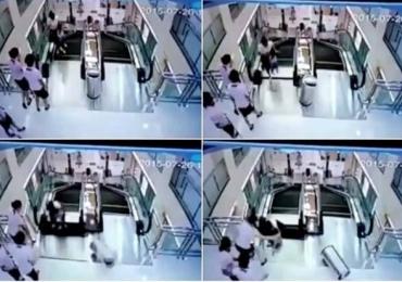 Imagem do dia: Mãe salva o filho antes de morrer engolida em escada rolante