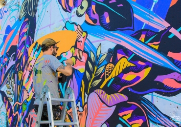 Artistas do Bicicleta Sem Freio pintam painel pela primeira vez em rua de Goiânia; veja as fotos