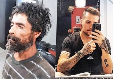 Morador de rua pede gilete a barbeiro e rapaz transforma o sem-teto