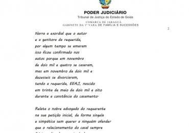 Juiz da comarca de Jaraguá decide dupla paternidade em forma de poesia