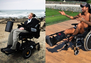 Com foto em cadeira de rodas, Neymar gera polêmica ao insinuar comparação com Stephen Hawking