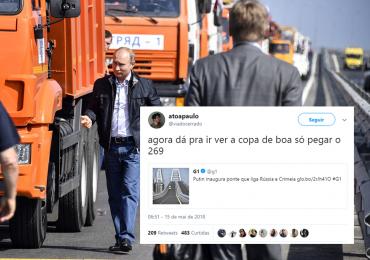 Ponte que liga Rússia e Crimeia é inaugurada e internautas de Goiânia não perdem a piada