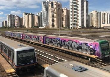 Carros do Metrô são pichados no Distrito Federal