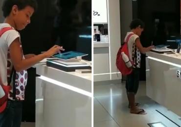 Garoto filmado estudando em tablet de loja ganha aparelho da Samsung