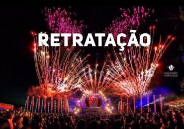 Organização da Festa 800 publica Nota de Esclarecimento: 'retratação'