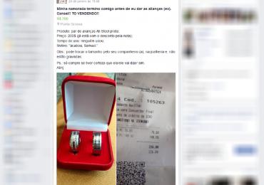 Jovem anuncia par de alianças na internet após levar fora da namorada: 'Compre se tiver certeza que ela/ele vai dizer sim'