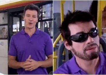 Vídeo: Rodrigo Faro se disfarça de passageiro de ônibus em Goiânia para surpreender cantoras