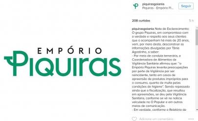 Restaurante Piquiras divulga nota de esclarecimento e rebate acusações da Vigilância Sanitária