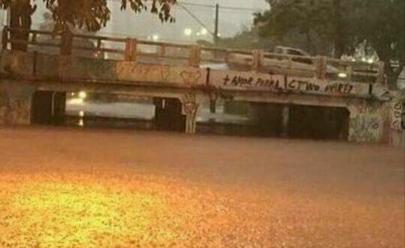 Viaduto do Flamboyant condenado pelo Crea-GO fica inundado após chuva