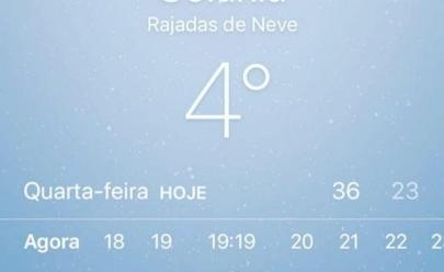 Sites de meteorologia fazem previsão de 4° com neve em Goiânia e internet vai à loucura