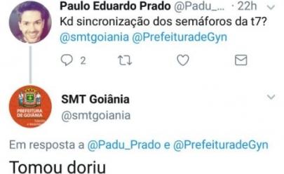Resposta irônica da SMT no Twitter causa polêmica nas redes sociais em Goiânia