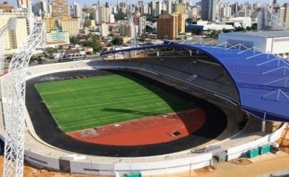 Drone sobrevoa novo Estádio Olímpico do Centro de Excelência em Goiânia