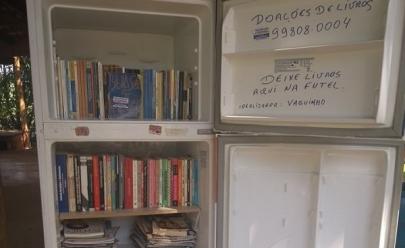 Em Uberlândia, Parque do Sabiá recebe 'geladeira literária'para empréstimo gratuito de livros, revistas e gibis