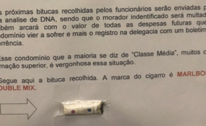 Síndico ameaça vizinhos fumantes com exame de DNA