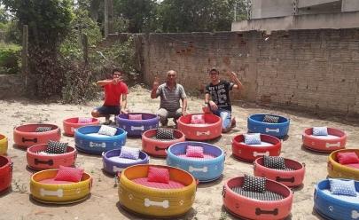 Jovem faz sucesso criando caminhas para animais com pneus velhos