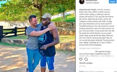 Acusado de racismo por chamar amigo de 'tiziu', Eduardo Costa faz desabafo no Instagram