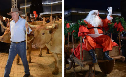Nada de trenó; Papai Noel chega de carro de boi para inaugurar a Aldeia do Natal na Praça Cívica