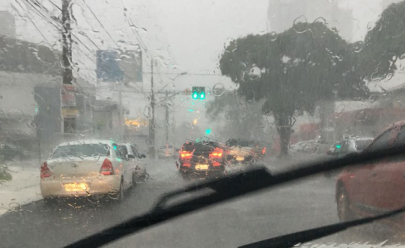 Forte chuva provoca inundações, derruba árvores e complica o trânsito em Goiânia