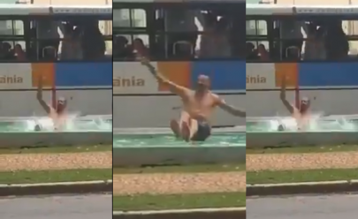 Homem é flagrado pulando em espelho d'água da Avenida Goiás e vídeo viraliza na web