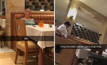 Jovem brinca achando que mulher dormia em restaurante mas descobre que ela estava morta
