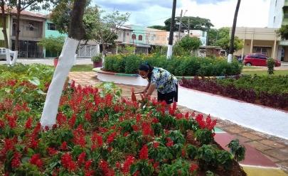 Moradora dá exemplo de cidadania e cuida de praça em Goiânia