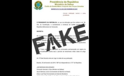 É FAKE decreto presidencial que obriga homens a servir ao Exército durante o carnaval