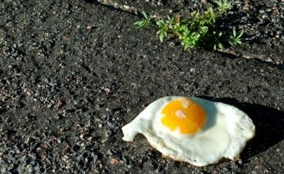 Morador de Palmas testa se é possível fritar ovo no asfalto e vídeo viraliza na web