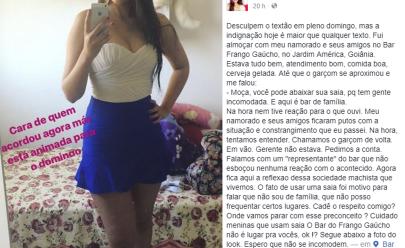 Jovem acusa bar de Goiânia de contrangê-la por causa de saia curta