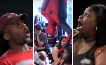 Pegadinha do Homem Aranha quase mata de susto clientes de cafeteria e viraliza na web
