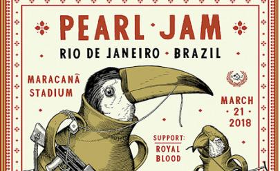 Banda Pearl Jam faz homenagem às favelas em pôster de divulgação no Rio de Janeiro